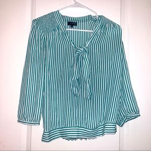 The Limited Green Pinstripe Blouse Sz Small